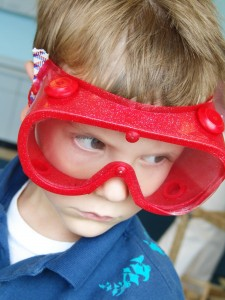 Gabe wore these goggles at the Children's Museum to keep other kids away from his loot