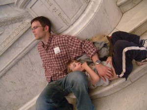 While we waited for the rain to stop, Tahd and Gabe took a little break on the steps in the Library of Congress.
